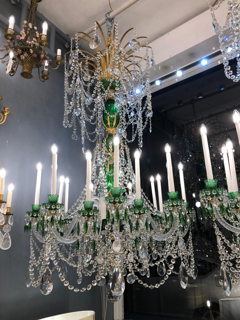 Magnificent Pair of Russian Green Crystal and Gold Chandeliers For Sale 6