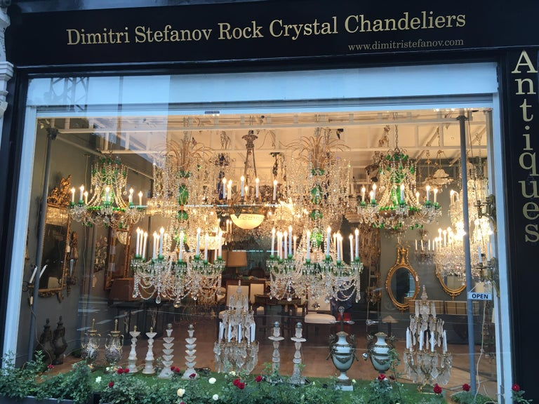 Magnificent Pair of Russian Green Crystal and Gold Chandeliers For Sale 7