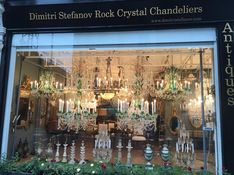 Magnificent Pair of Russian Green Crystal and Gold Chandeliers For Sale 9