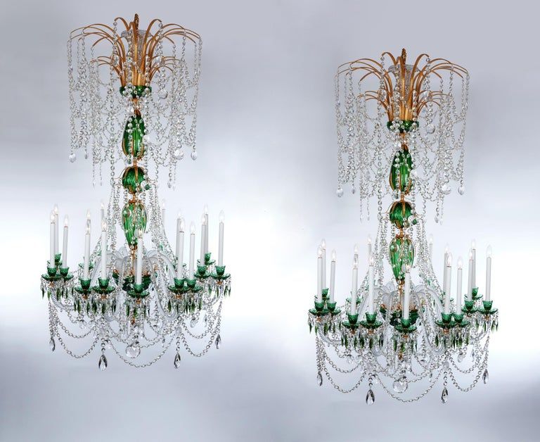 Magnificent Pair of Russian Green Crystal and Gold Chandeliers For Sale 3