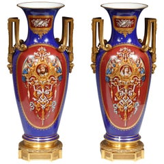 Magnificent Pair of Vases Attributed to Royal Porcelain Manufacture of Berlin