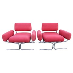 Magnificent Pair of Space-Age Tubular Chrome Lounge Chairs Ingmar Relling Style