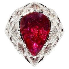 Magnificent Pear Shape No Heat Ruby and Diamond Ring 18 Karat
