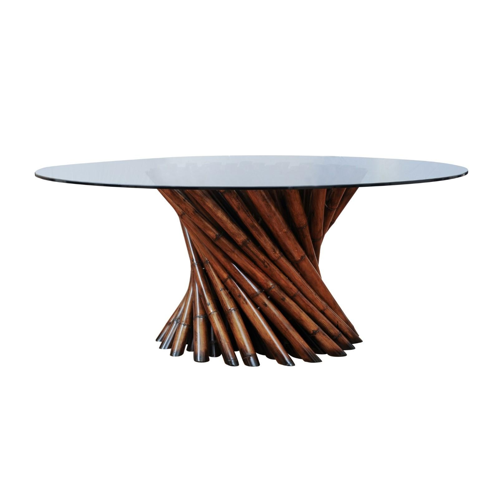 Magnificent Pedestal Bamboo Cluster Center or Dining Table by Budji Layug