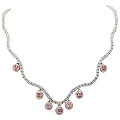 Magnificent Pink Cushion Cut Diamond Platinum and Rose Gold Necklace