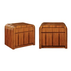 Magnificent Restored Waterfall End Tables in Bookmatched Teak, circa 1975