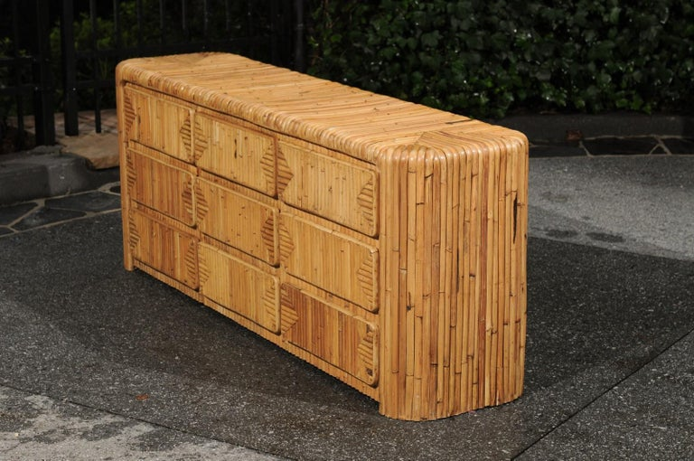 Magnificent Restored Waterfall Nine-Drawer Chest in Bamboo, circa 1980 For Sale 9