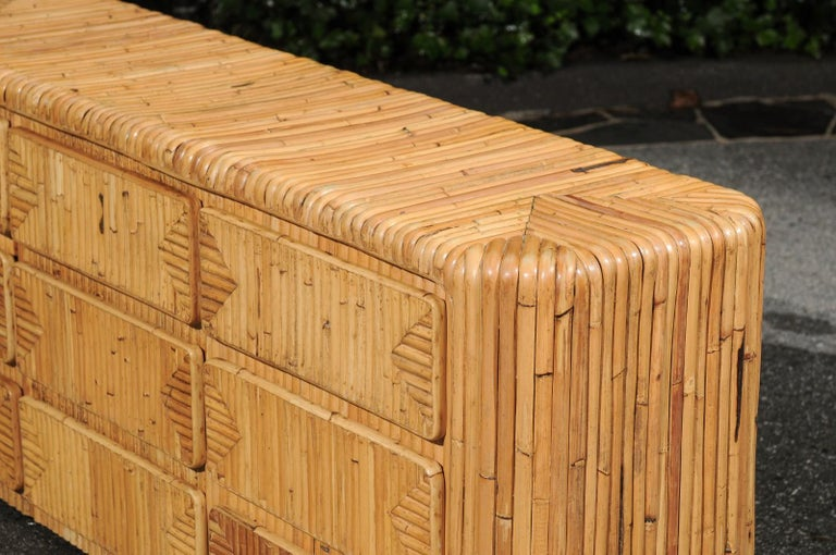 Magnificent Restored Waterfall Nine-Drawer Chest in Bamboo, circa 1980 For Sale 10