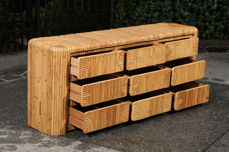 Magnificent Restored Waterfall Nine-Drawer Chest in Bamboo, circa 1980 For Sale 12