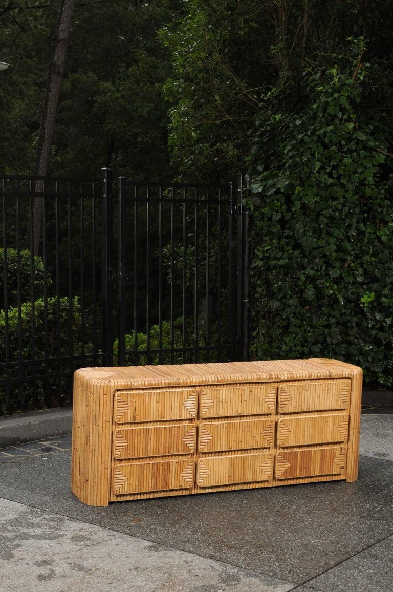 Mid-Century Modern Magnificent Restored Waterfall Nine-Drawer Chest in Bamboo, circa 1980 For Sale