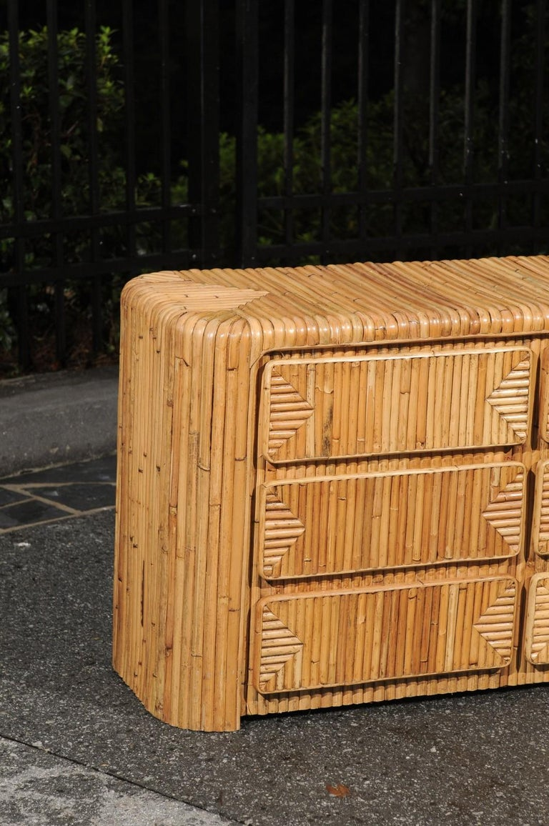 Unknown Magnificent Restored Waterfall Nine-Drawer Chest in Bamboo, circa 1980 For Sale