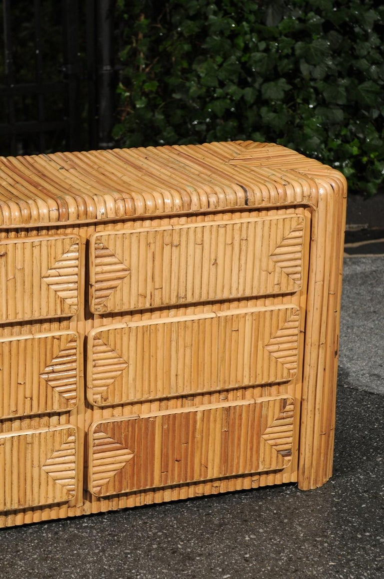 Magnificent Restored Waterfall Nine-Drawer Chest in Bamboo, circa 1980 In Excellent Condition For Sale In Atlanta, GA
