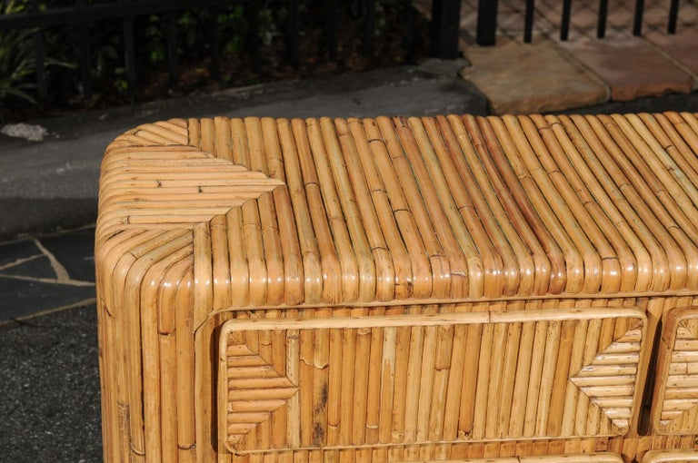 Late 20th Century Magnificent Restored Waterfall Nine-Drawer Chest in Bamboo, circa 1980 For Sale