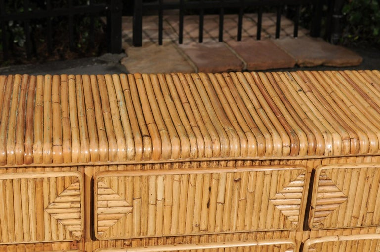 Magnificent Restored Waterfall Nine-Drawer Chest in Bamboo, circa 1980 For Sale 1