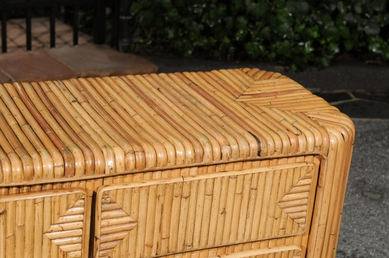 Magnificent Restored Waterfall Nine-Drawer Chest in Bamboo, circa 1980 For Sale 2
