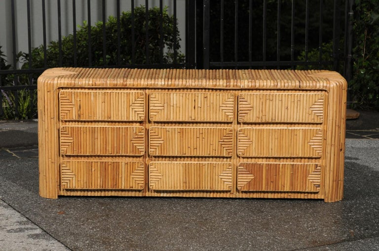 Magnificent Restored Waterfall Nine-Drawer Chest in Bamboo, circa 1980 For Sale 3