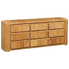 Magnificent Restored Waterfall Nine-Drawer Chest in Bamboo, circa 1980