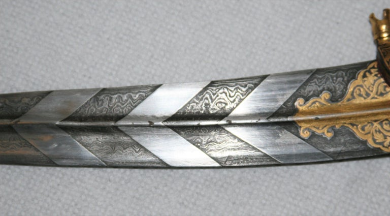 Magnificent Richly Decorated 1920s Damascened Rajput Dagger with Gold Work For Sale 3