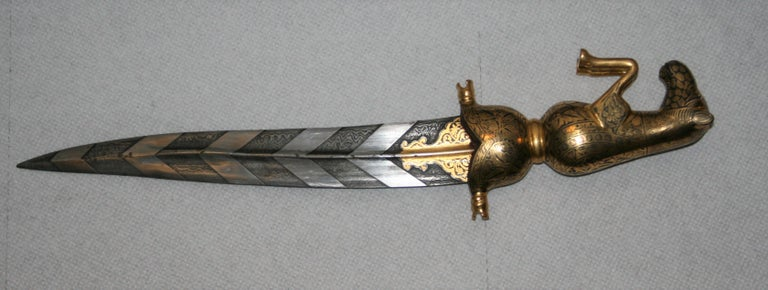 20th Century Magnificent Richly Decorated 1920s Damascened Rajput Dagger with Gold Work For Sale