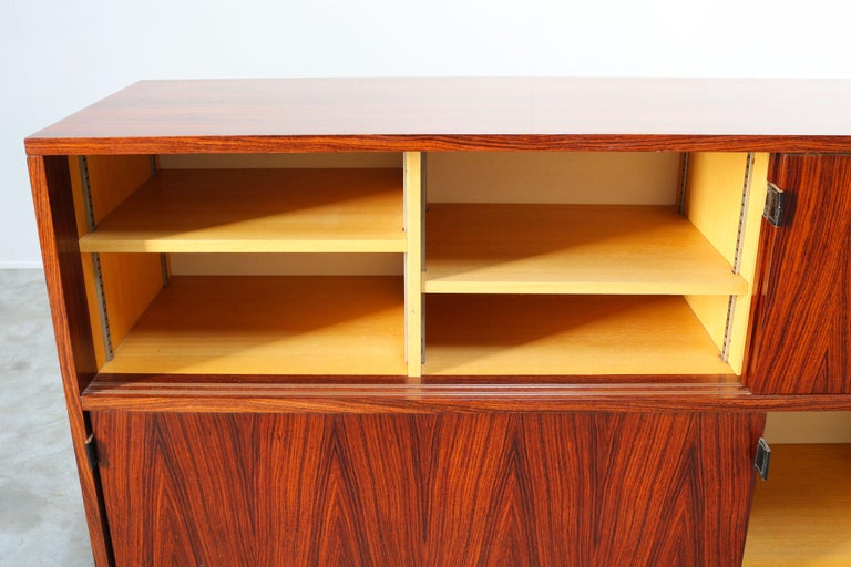 Magnificent Rosewood Sideboard by Florence Knoll for Knoll 1950s Black Leather For Sale 4