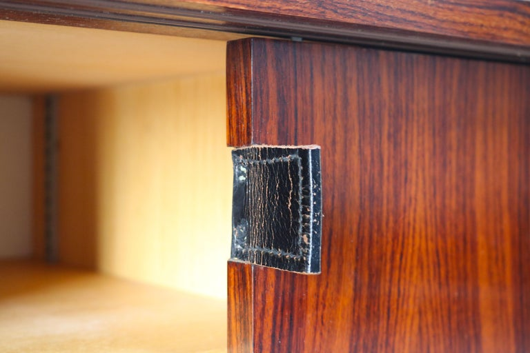 Magnificent Rosewood Sideboard by Florence Knoll for Knoll 1950s Black Leather For Sale 5