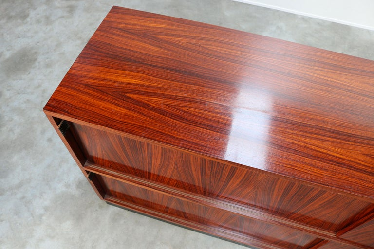 Magnificent Rosewood Sideboard by Florence Knoll for Knoll 1950s Black Leather For Sale 7