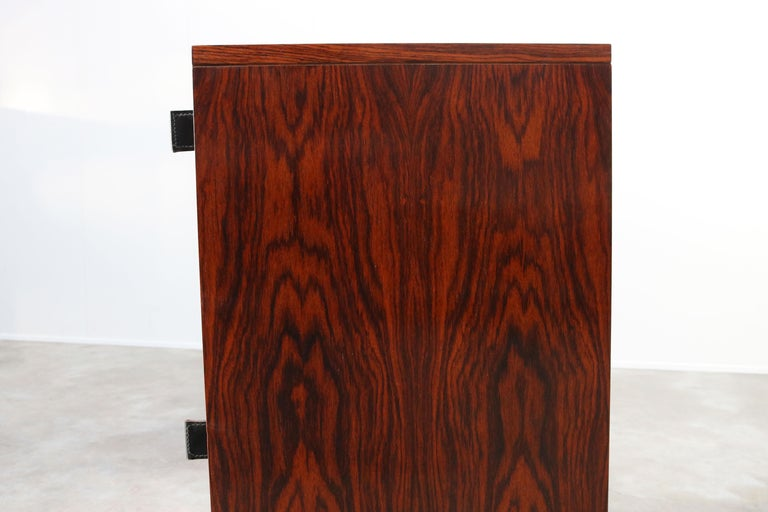 Magnificent Rosewood Sideboard by Florence Knoll for Knoll 1950s Black Leather For Sale 9