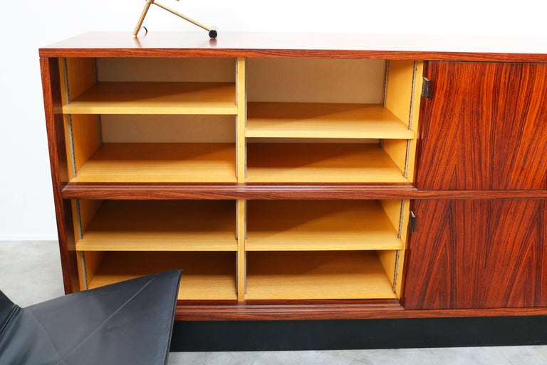 Magnificent Rosewood Sideboard by Florence Knoll for Knoll 1950s Black Leather For Sale 13