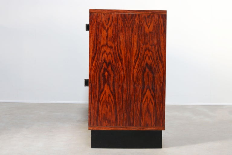 Mid-Century Modern Magnificent Rosewood Sideboard by Florence Knoll for Knoll 1950s Black Leather For Sale