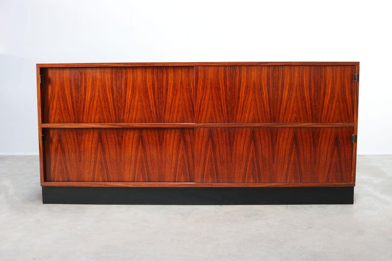 American Magnificent Rosewood Sideboard by Florence Knoll for Knoll 1950s Black Leather For Sale
