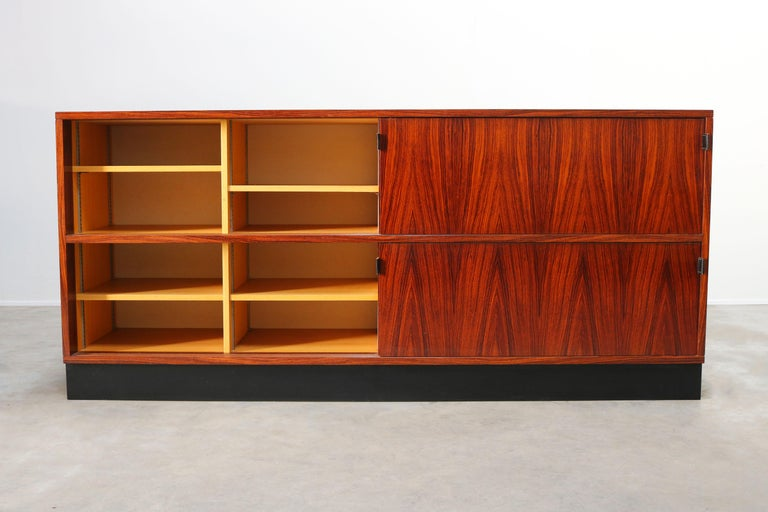 Mid-20th Century Magnificent Rosewood Sideboard by Florence Knoll for Knoll 1950s Black Leather For Sale