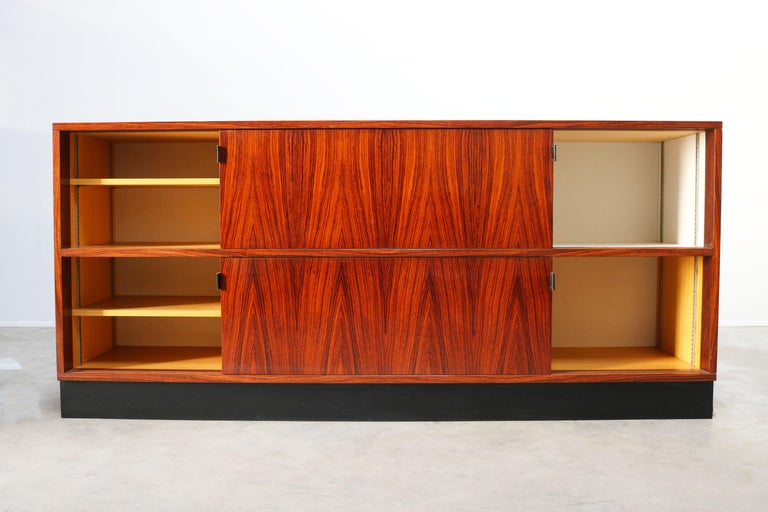 Magnificent Rosewood Sideboard by Florence Knoll for Knoll 1950s Black Leather For Sale 1
