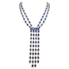 Sapphire and Diamond Tassel Necklace