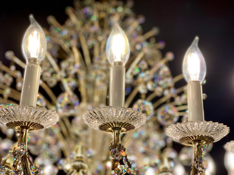 Other Magnificent Schonbek Contessa 36 Light Crystal Chandelier #4824 Gold Finish For Sale