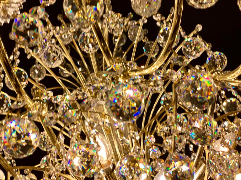 Hand-Crafted Magnificent Schonbek Contessa 36 Light Crystal Chandelier #4824 Gold Finish For Sale