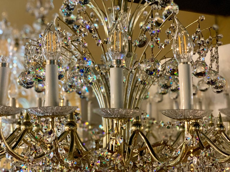 Magnificent Schonbek Contessa 36 Light Crystal Chandelier #4824 Gold Finish In Good Condition For Sale In Tustin, CA
