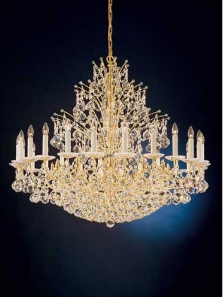 20th Century Magnificent Schonbek Contessa 36 Light Crystal Chandelier #4824 Gold Finish For Sale