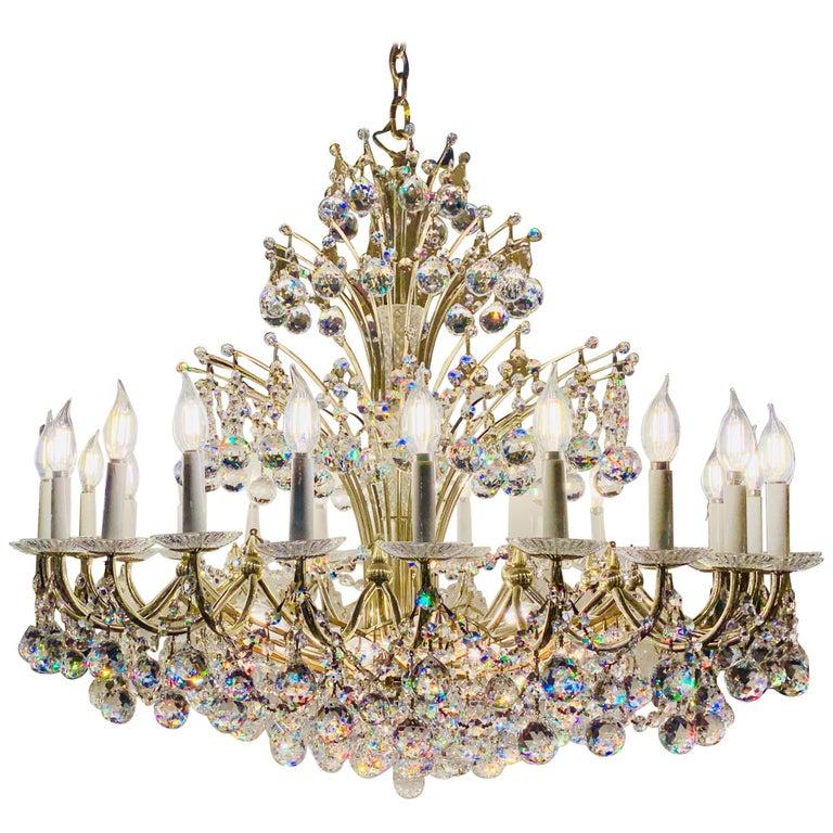 Magnificent Schonbek Contessa 36 Light Crystal Chandelier #4824 Gold Finish For Sale