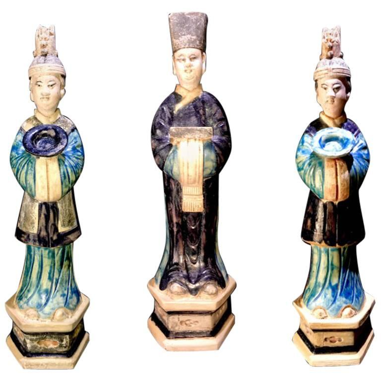 Magnificent Set of 3 Elegant Court Attendants - Ming Dynasty, China 1368-1644 AD For Sale