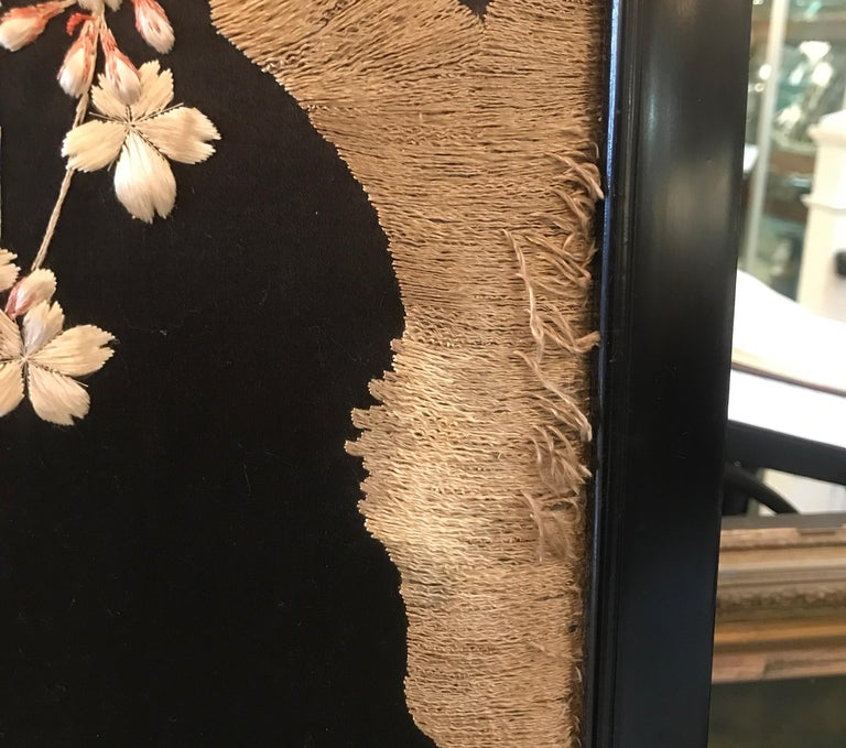 Magnificent Set of 4 Antique Japanese Silk Needlework Framed Panels, circa 1890 For Sale 4
