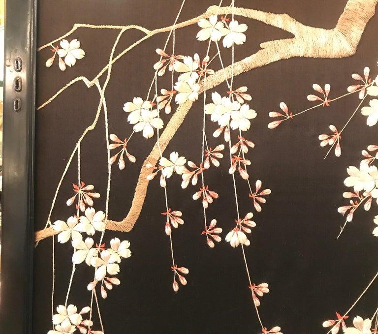 Magnificent Set of 4 Antique Japanese Silk Needlework Framed Panels, circa 1890 For Sale 5