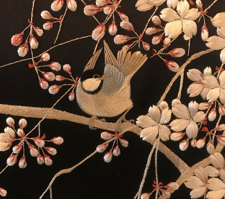 Magnificent Set of 4 Antique Japanese Silk Needlework Framed Panels, circa 1890 For Sale 6
