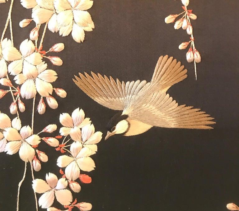 Magnificent Set of 4 Antique Japanese Silk Needlework Framed Panels, circa 1890 For Sale 8