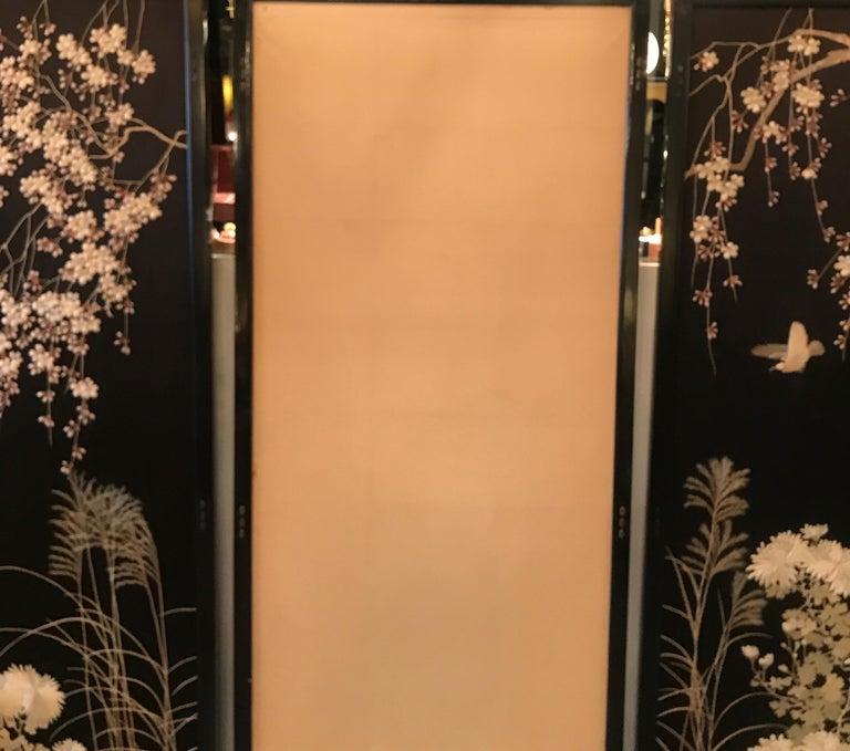 Magnificent Set of 4 Antique Japanese Silk Needlework Framed Panels, circa 1890 For Sale 11