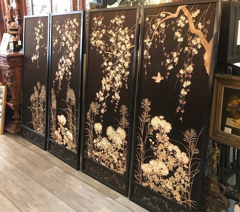Magnificent Set of 4 Antique Japanese Silk Needlework Framed Panels, circa 1890 For Sale 12
