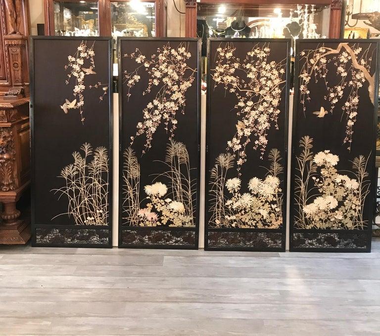 Meiji Magnificent Set of 4 Antique Japanese Silk Needlework Framed Panels, circa 1890 For Sale