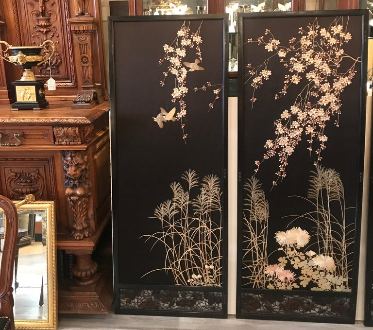 Lacquered Magnificent Set of 4 Antique Japanese Silk Needlework Framed Panels, circa 1890 For Sale