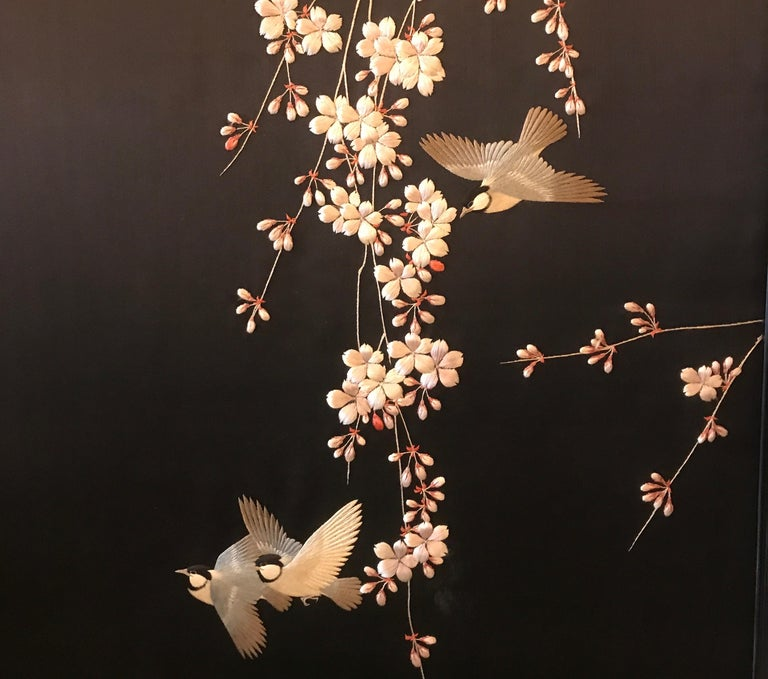 Late 19th Century Magnificent Set of 4 Antique Japanese Silk Needlework Framed Panels, circa 1890 For Sale