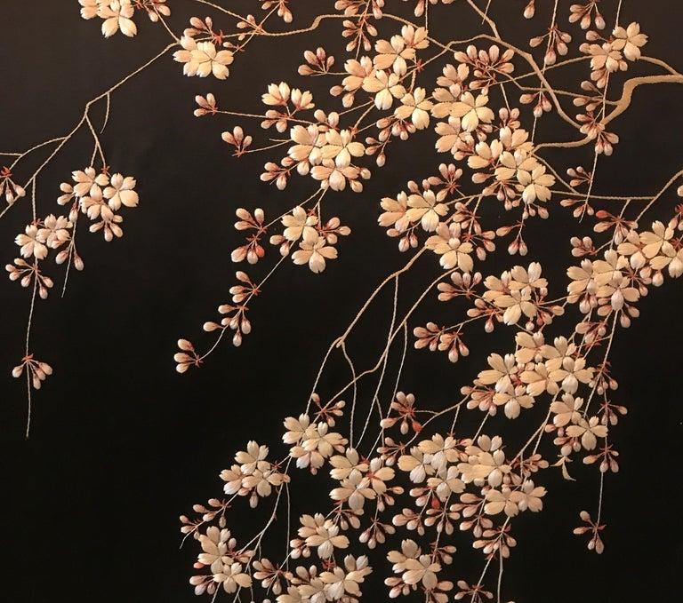 Magnificent Set of 4 Antique Japanese Silk Needlework Framed Panels, circa 1890 For Sale 1