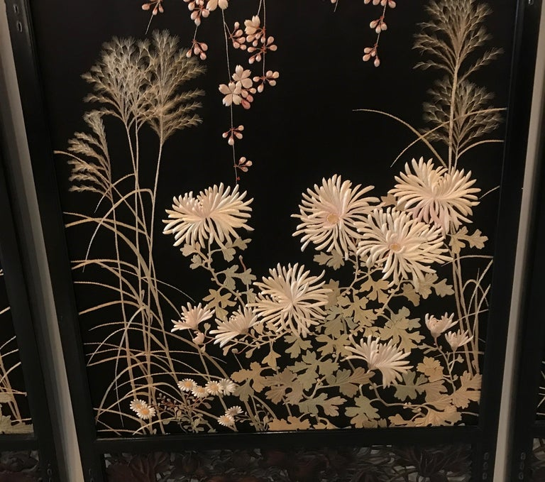 Magnificent Set of 4 Antique Japanese Silk Needlework Framed Panels, circa 1890 For Sale 2